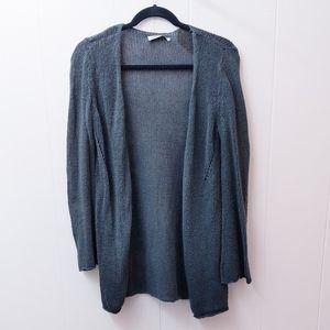 old navy | gray open knit cardigan linen blend S